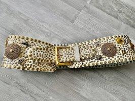 Mega Nietengürtel - weiß/ gold, Gr S, NP: 159€