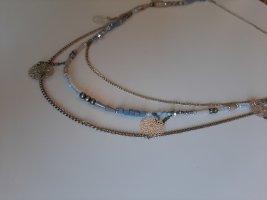 mehrreihige Halskette blau silber