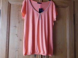 Melrose: neues Viskose-Shirt mit funkelnder Strassverzierung am Ausschnitt, Gummizugsaum, Kurzarm