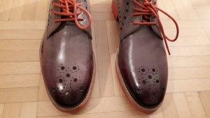 Melvin & hamilton Chaussures à lacets gris brun-magenta cuir