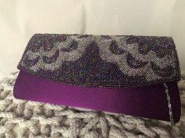 MENBUR Abendtasche Clutch lila mit bunten Perlen