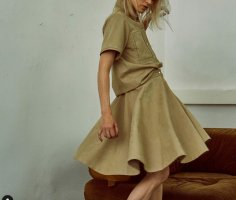 meshit Chemise en cuir beige-chameau