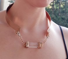Metall Chocker Halskette in Gold ungetragen