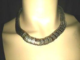 Metall-Halskette aus Indien- Schuppen 35 cm lang