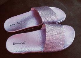 Metallic glänzend Sommer Damen Schuhe 40 Rosa  Neu
