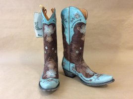 mexicana Western Boots light blue leather