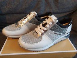 Michael Kors Allie Wrap Trainer Gr. 38,5 silver silber weiß Sneaker Schuhe Leder