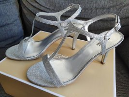 Michael Kors Arden Mid Sandal Gr. 38,5 silber Glitter high heels stilettos pumps