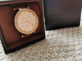 Michael Kors Horloge met lederen riempje bruin-donkerbruin Leer