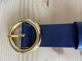 Michael Kors Cinturón de cuero azul acero-azul Cuero