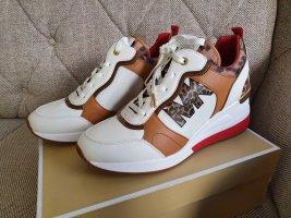 Michael Kors Crista Trainer Smooth Gr. 38,5 Sneaker Schuhe weiß braun leo Turnschuh