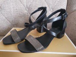 Michael Kors Diane Mid Sandal Gr. 39 schwarz Leder Schuhe Glitter Riemchen