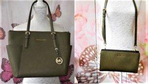 MICHAEL KORS grüne Tasche + kleine Umängetasche/Clutch