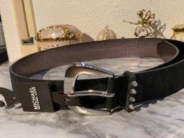 Michael Kors Faux Leather Belt black-grey