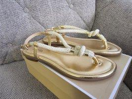 Michael Kors Holly Sandal gr. 38 gold beige Schuhe Zehentrenner Sandalen