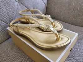 Michael Kors Holly Sandal Neu Sandalen Gr. 37 Sandaletten Zehentrenner gold beige