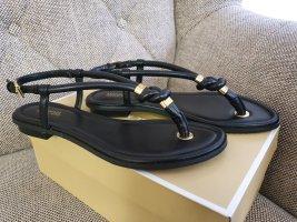 Michael Kors Holly Sandal Neu Sandalen Gr. 37 Sandaletten Zehentrenner gold schwarz