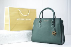 Michael Kors Hope Large Satchel Leather in Racing Green