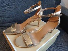 Michael Kors Jessie Mid Leather Gr. 38,5 gold Leder high heels pumps ungetragen