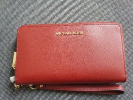 Michael Kors Jet Set LG Flat Phone Case brandy Portemonnaie Börse braun Gold