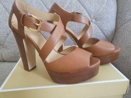 Michael Kors jodi Platform gr. 38 neu braun gold schuhe Sandaletten sandalen high heels Plateau