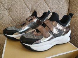 Michael Kors Keeley Sneaker gr. 38,5 Glitter Mesh silber weiß schwarz schuhe Turnschuhe
