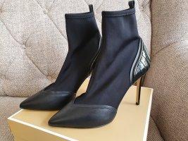 Michael Kors Khloe Bootie gr. 38,5 Stiefeletten schwarz Leder Mesh Schuhe High heels