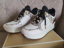 Michael Kors Lula Trainer Gr. 38,5 Sneaker weiß schwarz gold Schuhe Turnschuhe