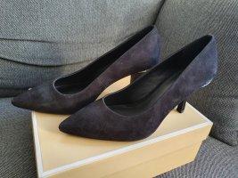 Michael Kors Malinda Pump Gr. 37,5 7,5M Schwarz silber Wild-leder high heels schuhe