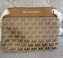 Michael Kors MF Chain Messenger neu braun gold Logo Schultertasche Handtasche