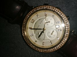 Michael Kors Horloge met lederen riempje goud-bruin