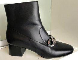 * MICHAEL KORS * NEU ! BOOTIES Stiefeletten LEDER schwarz KETTE Metall silber Gr 39
