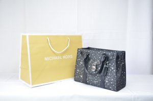 Michael Kors Nouveau Hamilton Small Satchel Leather in Black Silver Star