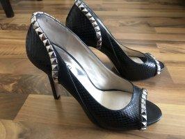 Michael Kors Peep Toe Pumps black-silver-colored