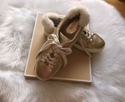 Michael Kors Poppy Lace Up Gold Sneakers