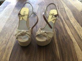 Michael Kors Platform High-Heeled Sandal cream mixture fibre