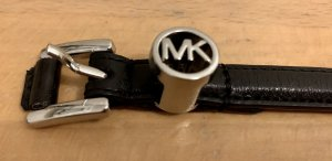 Michael Kors Faux Leather Belt black-silver-colored