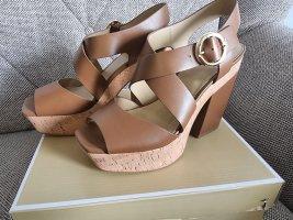 Michael Kors Sunny Platform gr. 40 sandalen braun gold leder Schuhe plateau