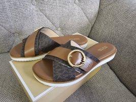 Michael kors sunny sandal gr. 38,5 braun gold logo schuhe sandalen slipper schlappen