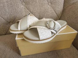 Michael kors sunny sandal gr. 38,5 weiß grau silber logo schuhe sandalen slipper schlappen