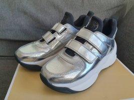 Michael Kors Turnschuhe KEELEY gr. 37 TRAINER metallic silber schuhe sneaker weiß