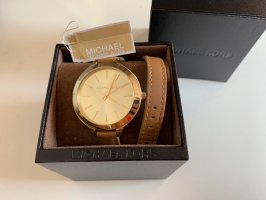 Michael Kors Watch With Leather Strap gold-colored-brown leather