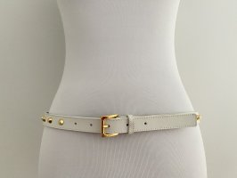 Michael Kors weißer Ledergürtel mit goldenen Nieten