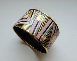 MICHAELA FREY WILLE breiter Armreif Armband Geometrie Muster 80er rosa gold VINTAGE