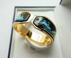 MICHAELA FREY WILLE Klapp Armreif Armband Vögel Kraniche Japan blau gold VINTAGE
