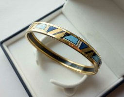 MICHAELA FREY WILLE schmaler Armreif Armband Geometrisches Muster VINTAGE