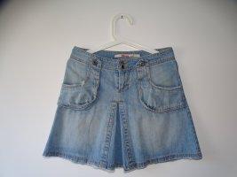 Midi Rock Jeansrock Taschen Reissverschluss Waschung Denim Hellblau Blau Gr.34 ONLY (NP: 45€)