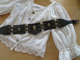 True Vintage Cinturón de cuero negro-color oro Cuero
