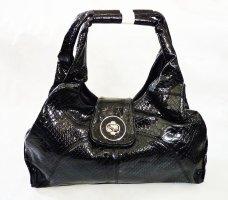 MILANO Handtasche in Kroko Optik Lack Shopper Damen Tasche Bag Sac Wet Look Snake Print Schultertasche Business edel Lack Animalic Henkeltasche