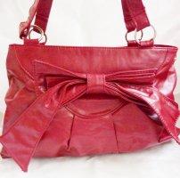MILANO Shopper rot Schultertasche Damen vegan Leder Tasche rot mit großer Zierschleife